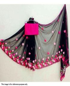 Look simple, sober yet stylish by draping into this Pink color Party-wear Embroidered Georgette saree. This beautiful saree is elegantly decorated with fancy embroidery work and lace border that gives a soothing look to the outfit. This saree is an ideal Trendy Sarees, Stylish Sarees, Simple Sarees, Saree Blouse Patterns, Saree Blouse Designs, Indian Dresses, Indian Outfits, Indian Clothes, Party Wear Sarees Online
