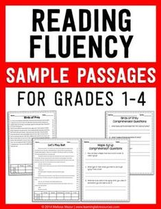 FREEBIE - Reading fluency sample passages and comprehension pages for grades 1-4.