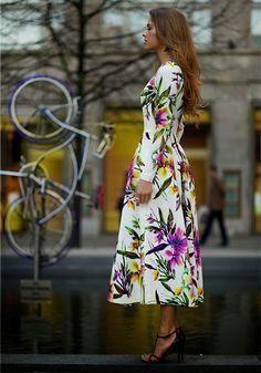 White Floral Print 2015 Roupas Femininas Fashion Long Sleeve Slim Fashion Bohemian Maxi Dress