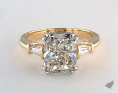 """""""18K Yellow Gold Side Stones Engagement Ring With 3.10 Carat J-VS2 VG Cut Radiant Diamond"""""""