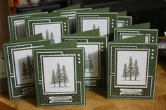 Stampin'Up! ... Peace on Earth Christmas Card ... country green and white .. lots of layers ... triple fir tree image ... embossing folder texture of small lattice ... wonderful cards!!