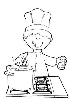 Con este dibujo infantil, el alumno adquirirá el concepto de los oficios y profesiones (cocinero). Mientras que a su vez pintan de una manera libre.