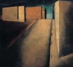 blastedheath: Mario Sironi (Italian, 1885-1961), Sintesi di paesaggio urbano [Synthesis of urban landscape], 1919. Oil on canvas, 40 x 43 cm. Private collection, Rome.