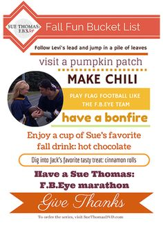 Download a free Fall Bucket List from Sue Thomas: F.B.Eye #SueThomasFBEye #fall