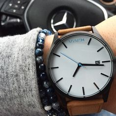 Blue accents on this big face 45 mm Tan Leather Watch. Click the image to purchase.