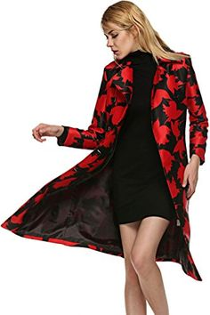 FINEJO Women Cotton Blends Double Breasted Long Sleeve Winter Coat Red Medium >>> Find out more about the great product at the image link.