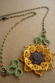 Sunflower tatted lace necklace Tatting! I used to tat flowers but not sunflowers. Love this