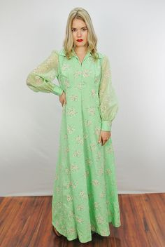 Vtg 70s Green Floral Hippie Festival Prairie Party Maxi Dress M L | eBay