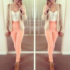 My Version: Peach Jeggings, White Tank Top or T-Shirt, Beige Cardigan, Cream Crochet Toms.