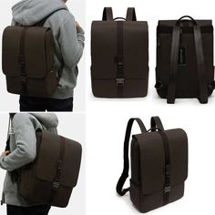 Toppu Suit Slim Backpacks Business Backpacks Canvas PVC Leather Bags for Men 507[Black]