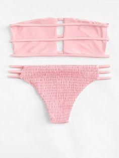 Ladder Cut Out Shirred Bikini Set Tie Dye Bikini, Bikini Set, Bikini Tops, High Neck Swimwear, Underwire Bikini Top, Cute Bathing Suits, Summer Bikinis, Women Swimsuits, Creations