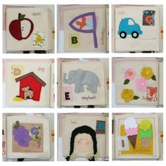 "Quiet Book: Letters ""A"" through ""I""  A apple with flap   B butterflies & net   C car with wheels   D dog puppet   E elephant with ear   F button-on flowers   G pocket of grapes   H practice doing hair   I stackable ice cream"