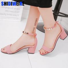 metal String Bead Summer Women Sandals Open Toe shoes Women's Sandles Square heel Women Shoes Korean Style Gladiator Shoes-in High Heels from Shoes on AliExpress Thick Heels Pumps, Ankle Strap Heels, Women's Pumps, Stilettos, Sexy High Heels, Womens Summer Shoes, Womens High Heels, Set Fashion, Cheap Fashion
