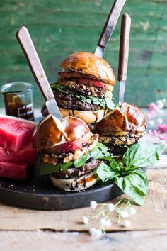 Fried Mozzarella and Caramelized Peach Caprese Burger | halfbakedharvest.com @hbharvest