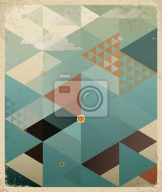 """Wall Mural """"abstract, aged, arrow - abstract retro geometric with clouds"""" ✓ Easy Installation ✓ 365 Day Money Back Guarantee ✓ Browse other patterns from this collection!"""