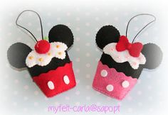 Felt cupcakes mickey and minnie mouse