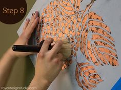 How to use Annie Sloan Soft Wax to protect a copper leaf stenciled finish Leaf Stencil, Stencil Painting, Painting Tips, Stenciling, Copper Crafts, Leaf Crafts, Diy Crafts, Gold Leaf Art, Wall Finishes