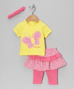 Take a look at this Yellow Polka Dot Butterfly Leggings Set by Just Too Cute on #zulily today!