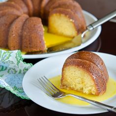 Luscious orange cake made with fresh oranges and sour cream, served with delicious orange-lemon sauce