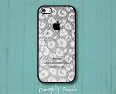 iPhone 5 Case - Light Grey Cheetah Denim / Available for iPhone 4, 4S