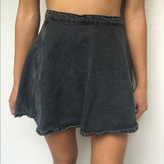 Jean skirt dark grey-black jean skirt with zipper and button. American Apparel Skirts Mini
