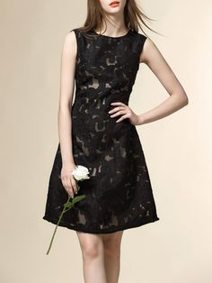 #AdoreWe #StyleWe Mini Dresses - Designer NEXIIA Black Sweet Floral Crew Neck Crocheted Mini Dress - AdoreWe.com