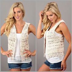 Macrame Crochet Vest The perfect addition to your summer wardrobe. Ivory crochet knit fringe vest. Create all sorts of looks bohemian or girly casual. Made of cotton/poly blend. Utility. Striped Threads & Trends Jackets & Coats