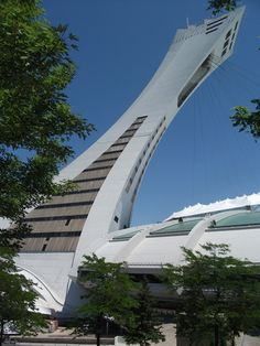 Tour Olympique Montréal - Olympic Tower Montreal.  My own photo, Fujifilm J38 pocket camera.