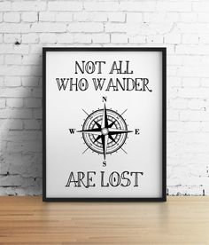 Not all who wander are lost Compass 8x10 by TheJournalCompany