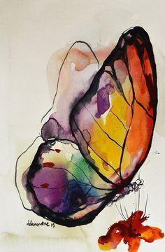 Rainbow Butterfly wa #watercolorarts