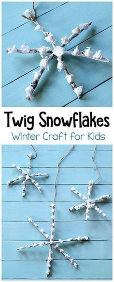 Twig Snowflake Craft for Kids: This winter art project is a great way to get young children (toddlers, preschool, and kindergarten) creating with nature! Use sticks and tissue paper in this process art project. Hang your snowflake craft to decorate for winter or use as homemade Christmas ornaments! ~ BuggyandBuddy.com #wintercraft #snowflakecraft #twigcraft #processart