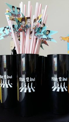 Aniversário tema The Beatles copos personalizados