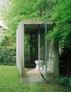 Outside toilet - Atelier Hermann Rosa, studio space of the late German sculptor, photo by Jürg Zimmermann Outside Toilet, Outdoor Toilet, Living Willow, Zimmermann, Modern Toilet, Airstream Renovation, Fresco, Minimalist Interior, Glass House