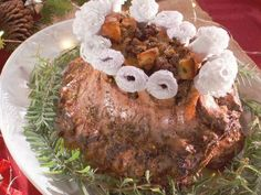 """Crown Roast of Pork with Chestnut Sausage Stuffing (A Farmer's Family Christmas) - Nancy Fuller, """"Farmhouse Rules"""" on the Food Network."""
