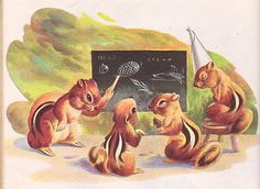 """Chip Chip, Illustrations by Nino Carbe, 1947- Chipmunk Lessons  """"Chip Chip"""", Little Golden Book, 1947  Story by Norman Wright Illustrations by Nino Carbe"""