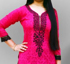 Indian Cotton Salwar Suit Neck Style
