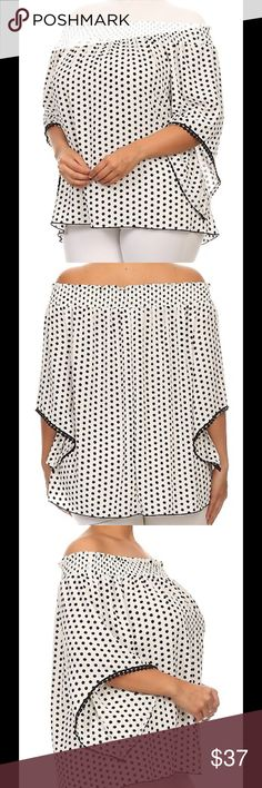 Polka dot, 3/4 length sleeve, off the shoulder top Master Category : Women>Plus Sizes>Tops & Tees Color : Ivory,Black Size Spec : 1X-2X-3X Material: 98% Polyester 2% Spandex Origin : United States (501680) Tops Blouses