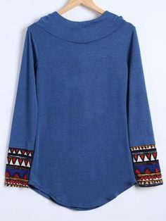 Splicing Hooded Long Sleeve T Shirt