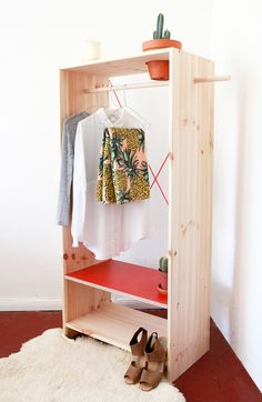 planter closet / coco lapine design 100均 Diy, Arquitetura E Design, Simple Closet, Simple Wardrobe, Open Wardrobe, Diy Wardrobe, Smart Closet, Wardrobe Furniture, Quick Diy Furniture