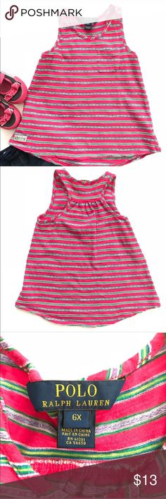 Ralph Lauren girls striped tank top •Ralph Lauren striped sleeveless multi colored tee with front pocket  •Like new condition  •Size 6x  •I am a: Posh Ambassador, top 10% seller, top rated seller, Posh mentor & ship same day/next day!  ⭐️❤️FREE Matching hair accessory with purchase!❤️⭐️ •Smoke & pet free home •Browse my closet for dozen of amazing designers such as.. tucker + Tate, Tea Collection, Mini Boden, UGG, GAP, Juicy Couture, Lululemon & many more! Ralph Lauren Shirts & Tops Tank…