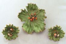 #983 Kramer Green Enamel Floral Pin & Earrings at Lee Caplan Vintage Collection