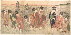Kitagawa Utamaro: Women Worshipping the Rising Sun between the Twin Rocks at Ise - Metropolitan Museum of Art