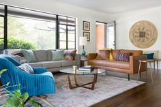 Blending Styles In This Mid-Century Remodel - Front + Main Home Living Room, Living Spaces, Furniture Layout, Living Room Inspiration, Decor Styles, Outdoor Furniture Sets, New Homes, Mid Century, Interior Design