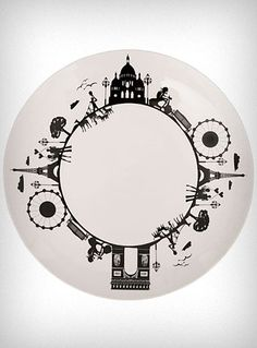 A Day In Paris Ceramic Dinner Plate $17.00 To a to my collection of black and white dishes! #feelbeautiful #whbm