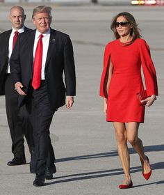 Melania Trump wore a striking red caped dress in Palm Beach