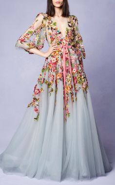 Embroidered V-Neck Gown by Marchesa