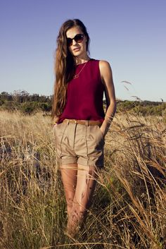 Maroon Crepe paired with high-waisted tailored Shorts.
