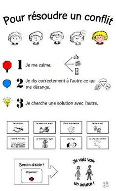 A poster to give tracks to have the bo . pour résoudre un conflit… Une affiche pour donner des pistes pour avoir le bo… to solve a conflict … A poster to give tracks to have the good behavior . French Education, Kids Education, Special Education, Education Trust, French Teacher, Teaching French, Behaviour Management, Classroom Management, French Classroom
