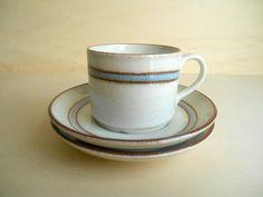 vintage mokka cup and 2 saucers / Rörstrand DALOM / Sweden / 1982-1988 by sperlingslustvintage on Etsy