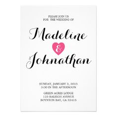 Sweet Heart Wedding Invitation CANDY Color -- This invitation is part of our Sweet Heart Wedding suite.  Custom colors are available.